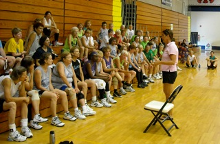 coach P talking with campers